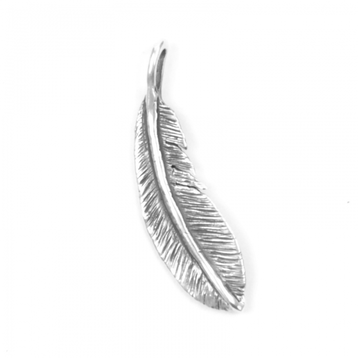 Dog State Silver Feather Pendant (Image 1)