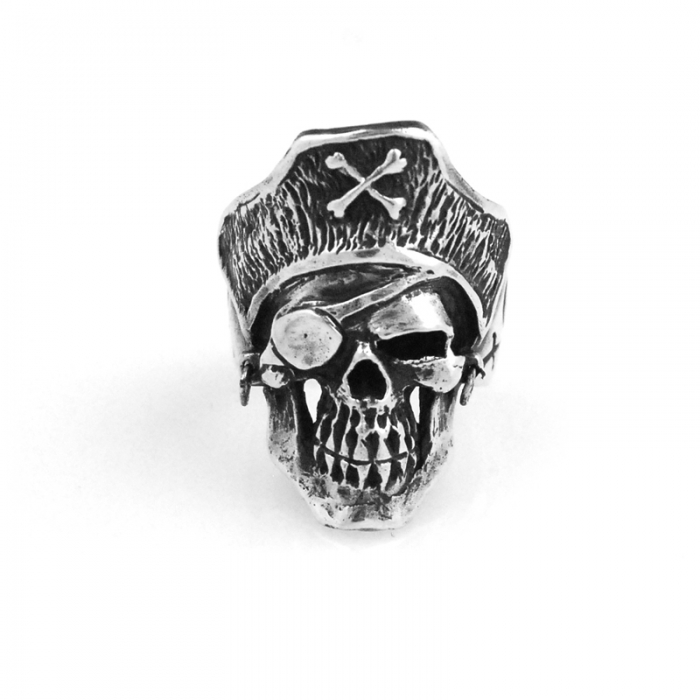 Dog State Silver Pirate Skull Ring (Image 1)