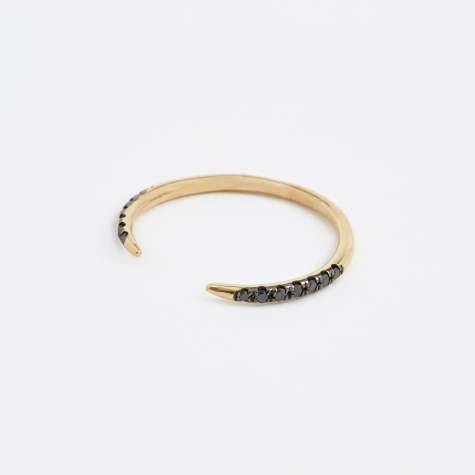 Micropave Open Slice Black Diamond Ring - 14K Yellow Gold