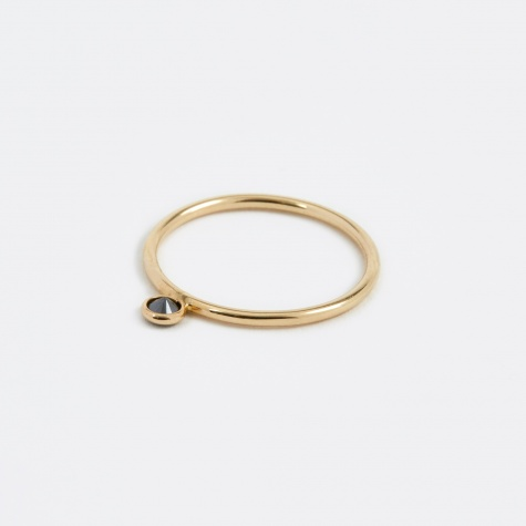 Frontal Black Diamond Ring - 14K Yellow Gold