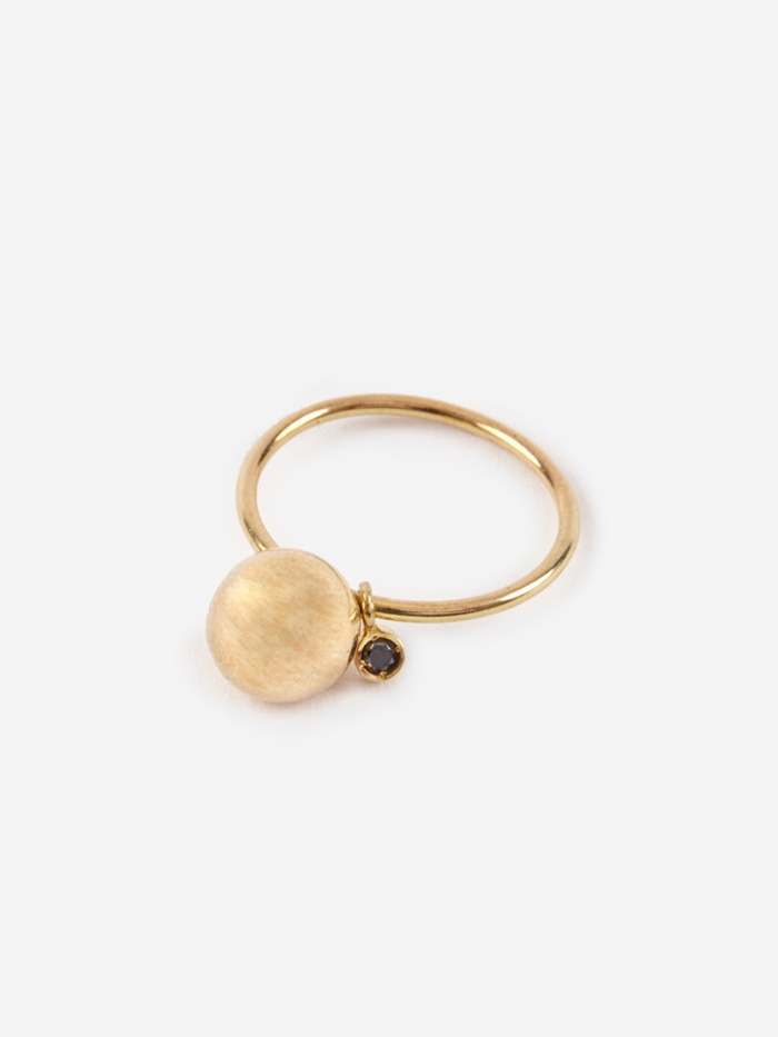 Sara Lasry Ball Toy Ring - 18K Gold/Black Diamond (Image 1)