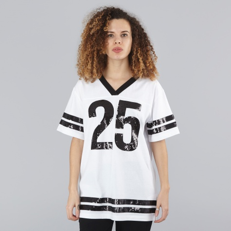 Short Sleeve Sequin Top - White/Black