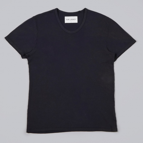 U Neck Tee - Navy/Rust