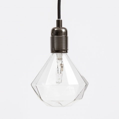 Black Chrome Light Fitting With Black Cord