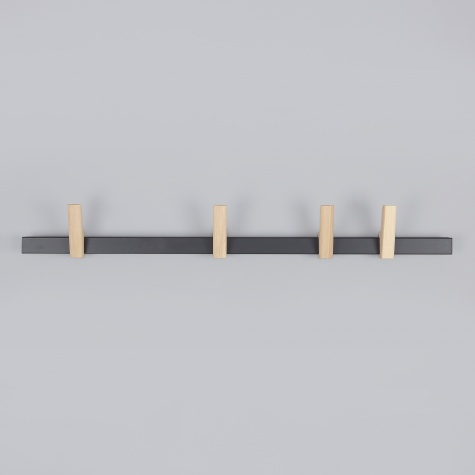 Beam Coat Rack 90cm - Anthracite With Natural Ash Hooks