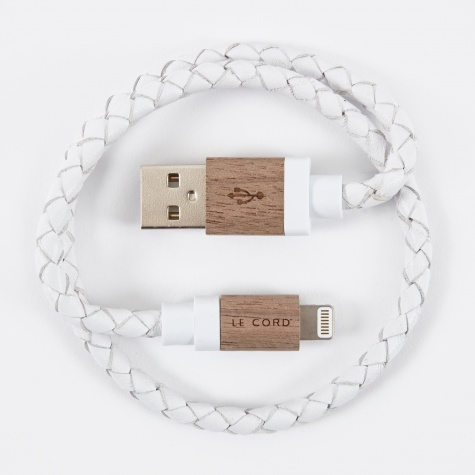 Charging Cable - White Leather / Dark Wood