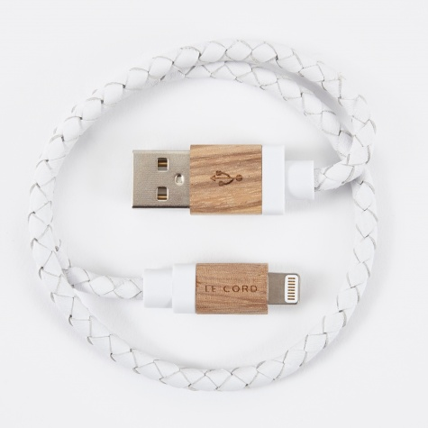 Charging Cable - White Leather / Light Wood