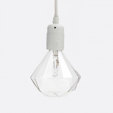 Matte White Light Fitting With White Cord