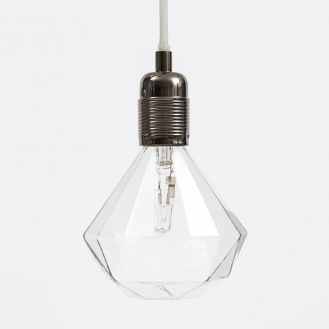 Black Chrome Light Fitting With White Cord