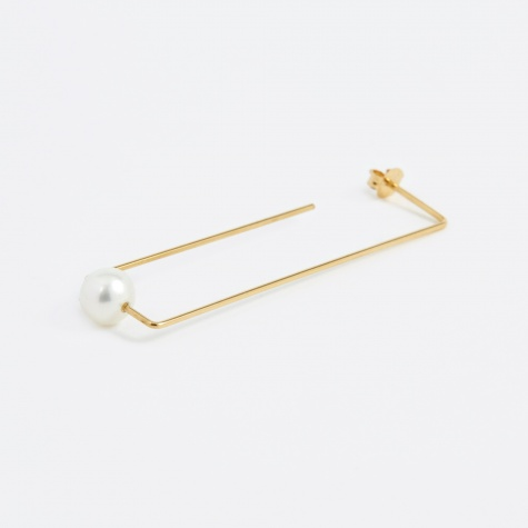Long Rectangle Water Pearl Earring - 18K Gold