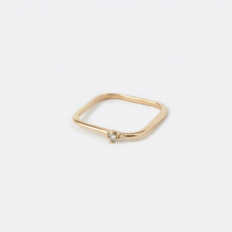 Pinky Square Diamond Ring - 10K Gold