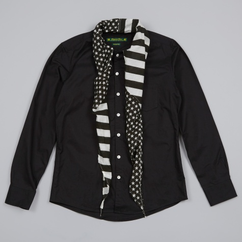 Stars and Stripes Scarf Shirt - Black
