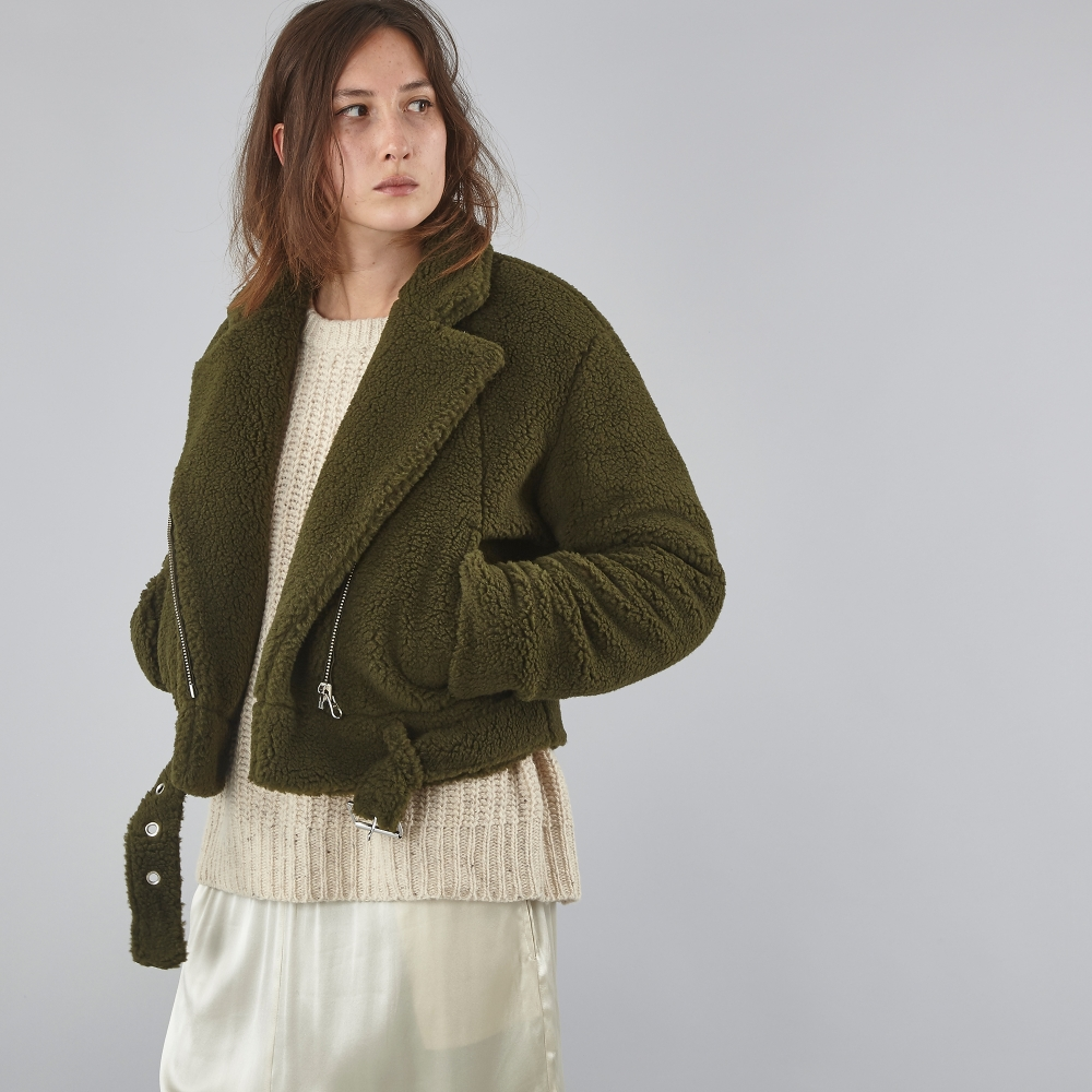 Mm6 by maison martin margiela teddy biker jacket green for Mm6 maison margiela
