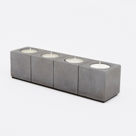 Block Tea Light Holder Row of 4 - Concrete