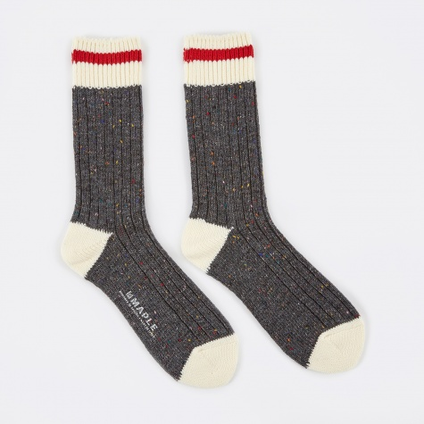 Heritage Speckle Ribbed Sock - Charcoal