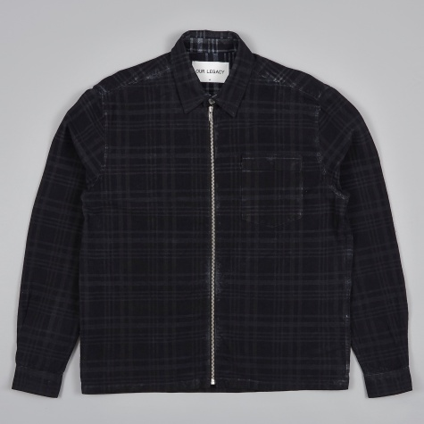 Short Zip Shirt - Overdyed Indigo Check