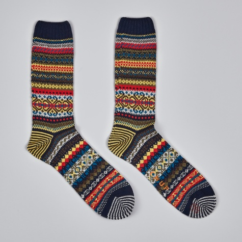Swedish Block Socks - Navy