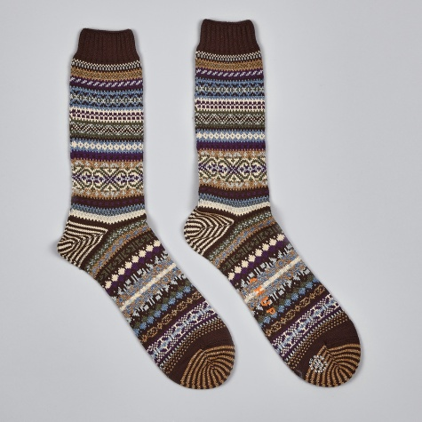 Swedish Block Socks - Brown