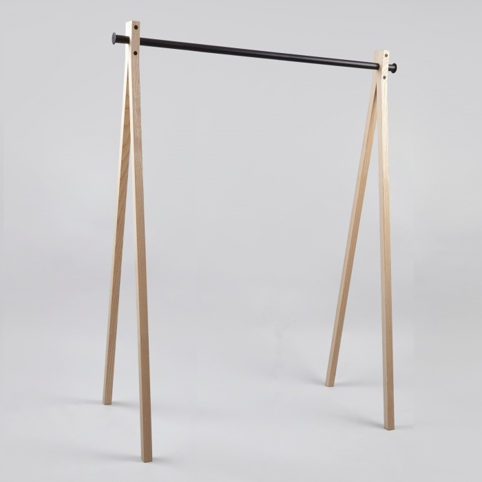 Nomess Dress-Up Garment Rack Ash Trestle/Black Bar 120cm (Image 1)