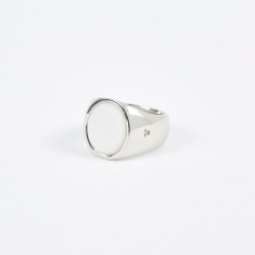 Tom Wood Oval Ring - White/Silver