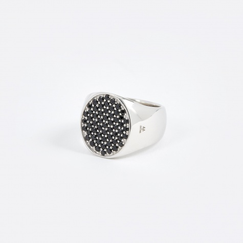 Pinkie Oval Ring - Silver/Black Spinel