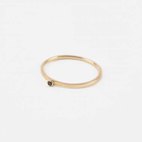 Single Black Diamond Ring - 14K Gold
