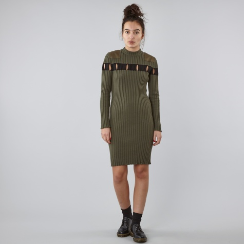 Perforated Stripe Crew Neck L/S Dress  - Olive
