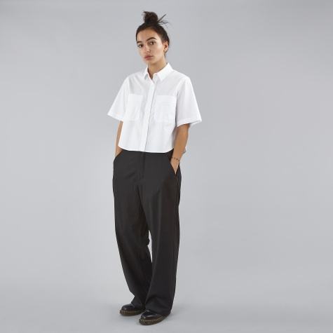 T By Alexander Wang Cotton Poplin Cropped S/S Shirt - White
