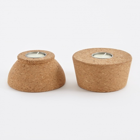 T-Light Holder 'Judd' Cork/Me - Set Of Two