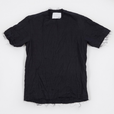 Chuck Idaho Linen Raw Edge Shirt - Navy