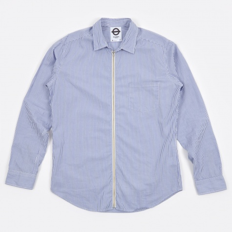 Stripe Zipped LS Shirt - Seaside Blue
