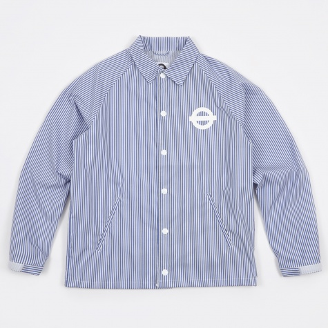 Striped Shirt Coach Jacket - Seaside Blue