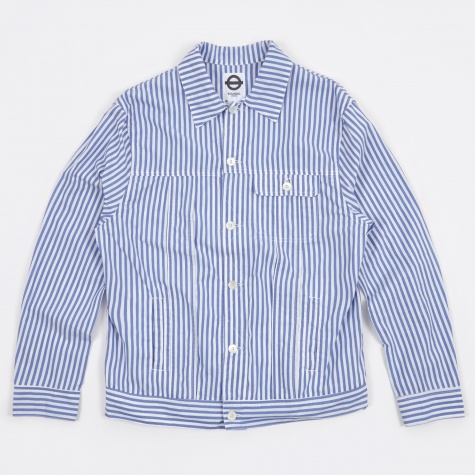 Striped Jean Jacket - Seaside Blue