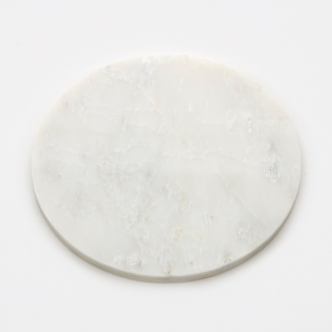 Large Round Marble Plate - White