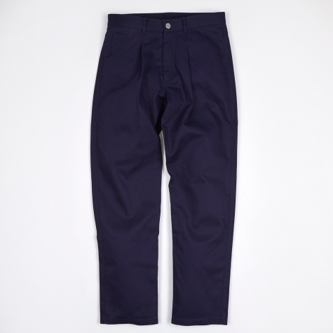 Sraight Cotton Twill Pants - Navy