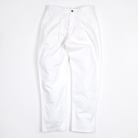 Sraight Cotton Twill Pants - White