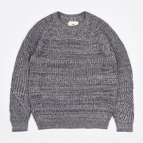 Chunky Direction Jumper - Navy Ecru