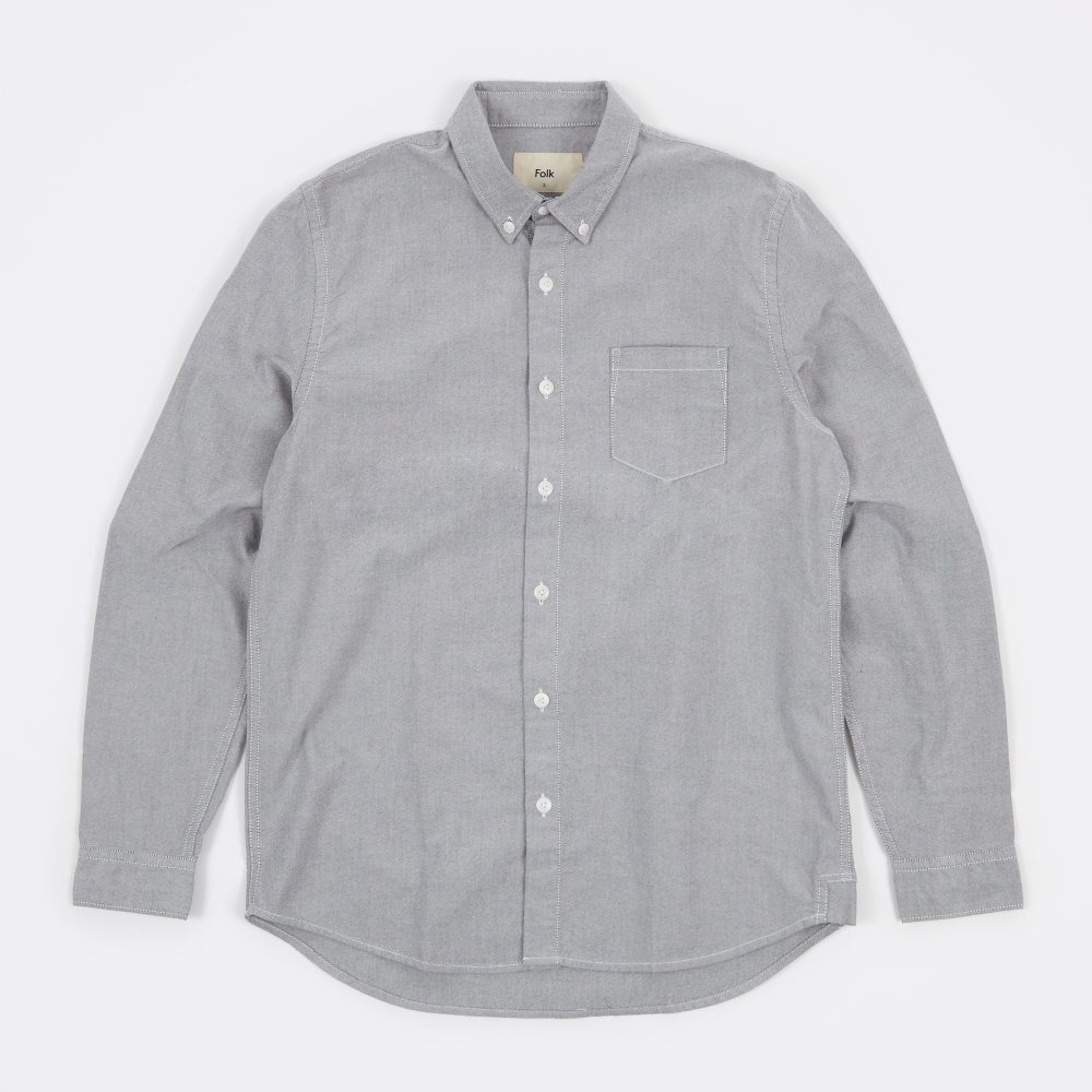 Folk button down shirt grey oxford for Grey button down shirt