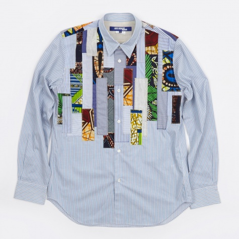 Multi Fabric Mix Shirt - Blue/White