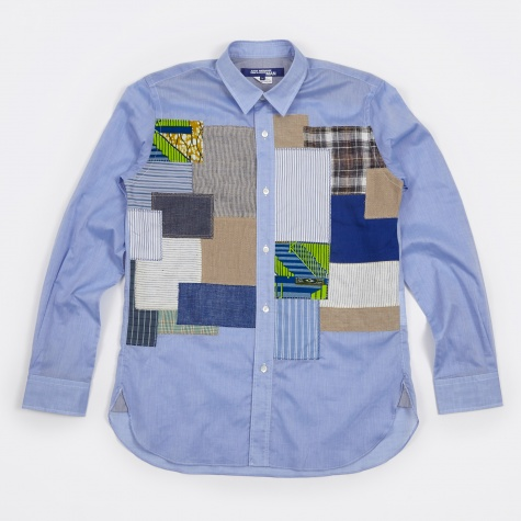 Multi Fabric Mix Lawn Chambray Shirt - Blue