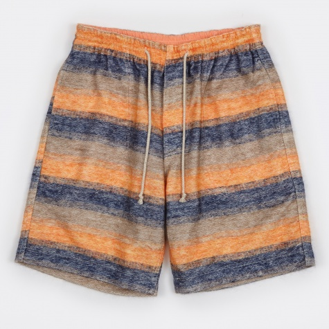 Inlay Mohair Border Short - Orange/Navy/Beige