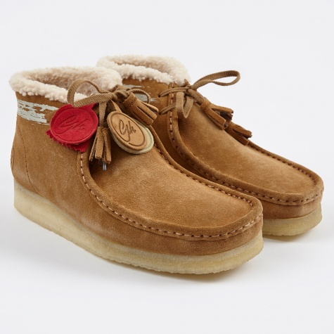 Clarks x Goodhood Wallabee Boot - Cognac Suede Fur Lined