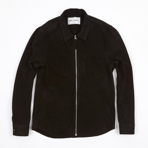 Suede Zip Shirt - Black Suede