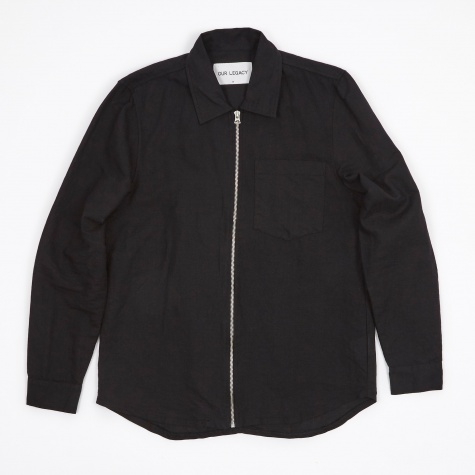 Zip Shirt Jacket - Black