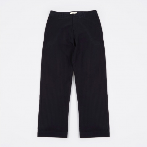 Herringbone Stripe Wide Trouser - Navy/Black