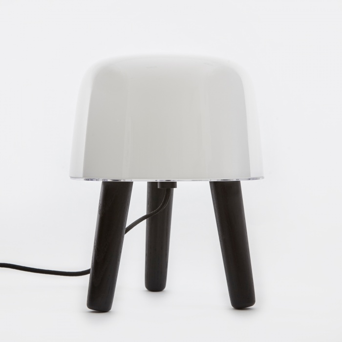 & Tradition Milk Table Lamp - Black Stained Legs & Black Cord (Image 1)
