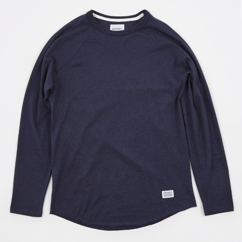 Aske Perforated LS T-Shirt - Navy