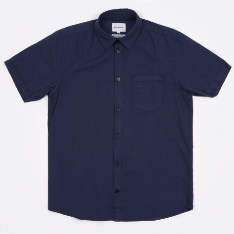 Anton Light Oxford Shirt Overdyed SS - Navy