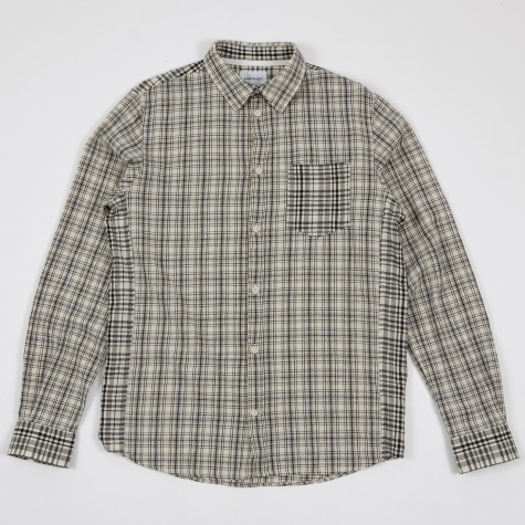 Anton Cotton Linen Check Shirt - Ecru