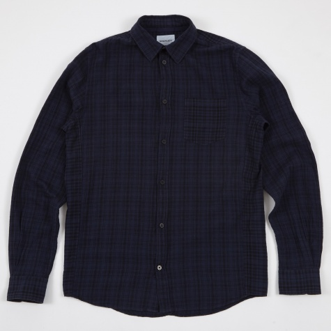 Anton Cotton Linen Check Shirt - Navy